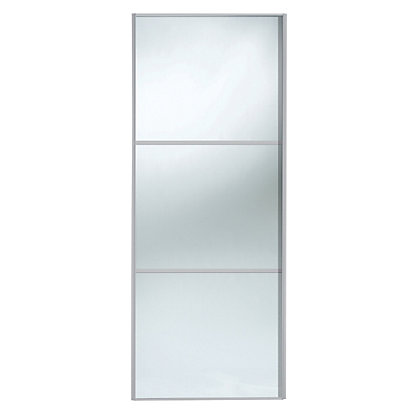 Image for Linear Silver Frame Mirror Sliding Door - 914mm from StoreName
