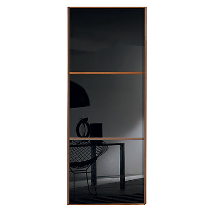Image for Linear Walnut Frame Black Glass Sliding Door - 914mm from StoreName