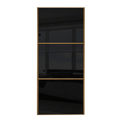 Image for Linear Windsor Oak Frame Black Glass Sliding Door - 914mm from StoreName