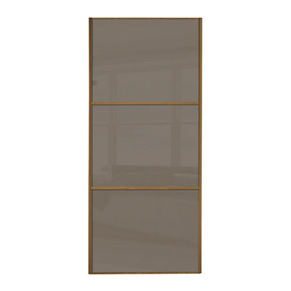 Image for Linear Windsor Oak Frame Cappuccino Glass Sliding Door - 914mm from StoreName