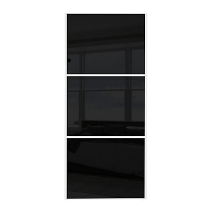 Image for Linear White Wooden Frame Black Glass Sliding Door - 914mm from StoreName