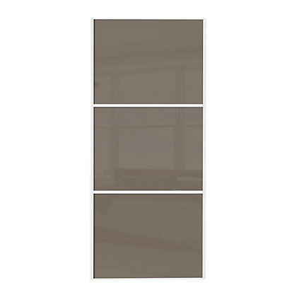 Image for Linear White Wooden Frame Cappuccino Glass Sliding Door - 914mm from StoreName
