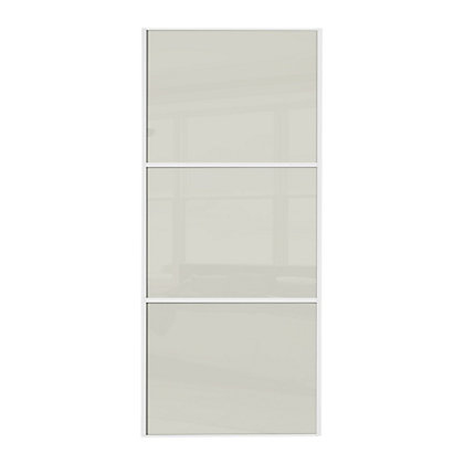 Image for Linear White Wooden Frame Soft White Glass Sliding Door - 914mm from StoreName
