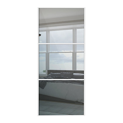 Image for Linear White Wooden Frame Mirror Sliding Door - 914mm from StoreName