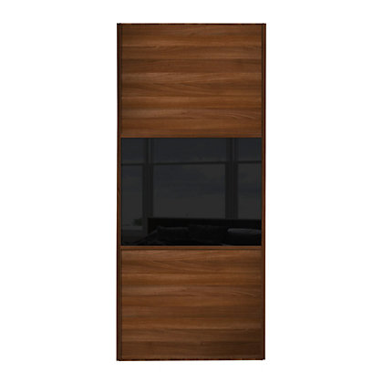 Image for Linear Walnut Panel and Black Glass Sliding Door - 914mm from StoreName