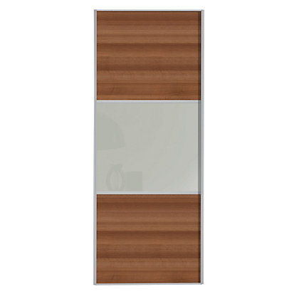 Image for Linear Walnut Panel and Buttermilk Glass Sliding Door - 914mm from StoreName