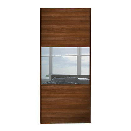Image for Linear Walnut Panel and Mirror Sliding Door - 914mm from StoreName