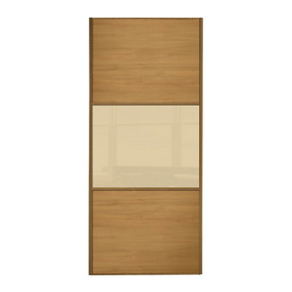 Image for Linear Windsor Oak Panel and Cream Glass Sliding Door - 914mm from StoreName