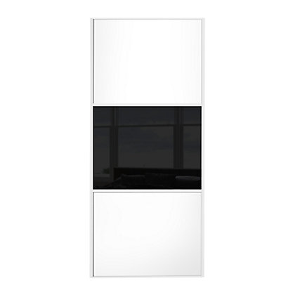 Image for Linear White Wooden Panel and Black Glass Sliding Door - 914mm from StoreName