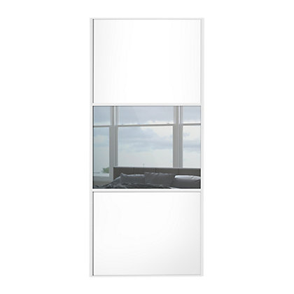Image for Linear White Wooden Panel and Mirror Sliding Door - 914mm from StoreName