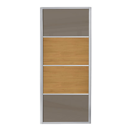 Image for Ellipse 4 Panel Cappuccino Glass and Windsor Oak Panel Sliding Door - 610mm from StoreName