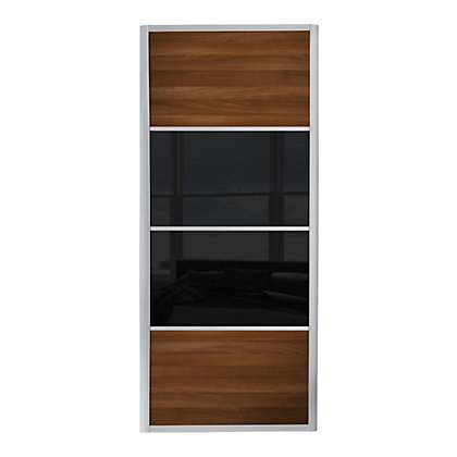 Image for Ellipse 4 Panel Walnut Panel and Black glass Sliding Door - 610mm from StoreName