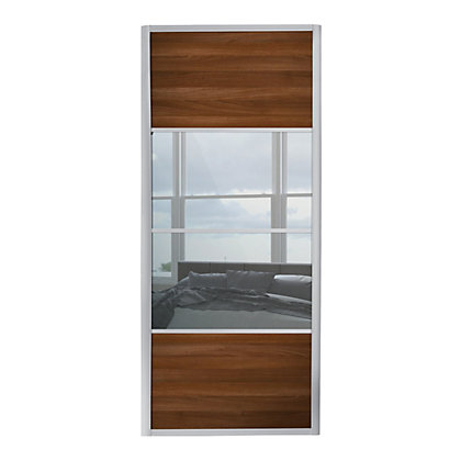 Image for Ellipse 4 Panel Walnut Panel and Mirror Sliding Door - 610mm from StoreName