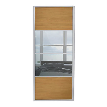 Image for Ellipse 4 Panel Windsor Oak Panel and Mirror Sliding Door - 610mm from StoreName