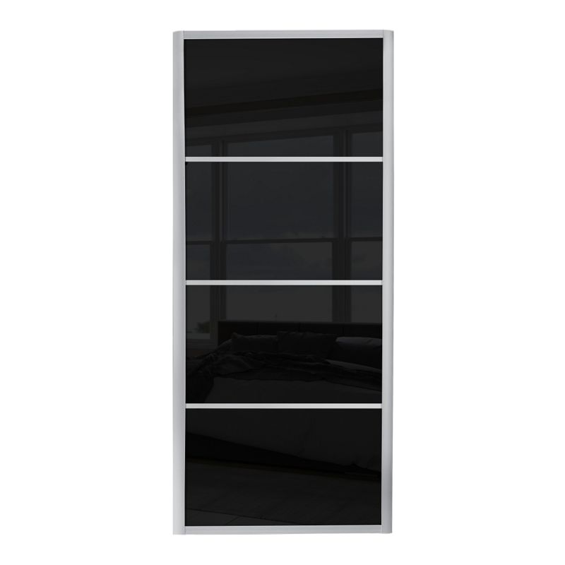 Ellipse 4 panel black glass sliding door 610mm for Black sliding glass doors
