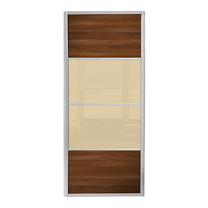 Image for Ellipse 4 Panel Walnut Panel and Cream Glass Sliding Door - 762mm from StoreName