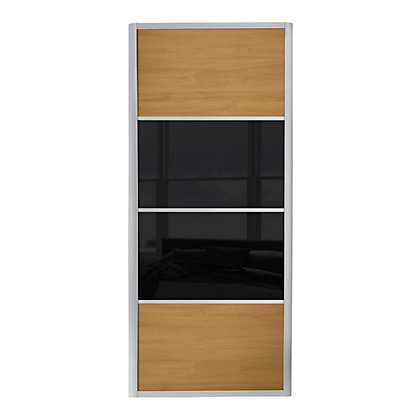 Image for Ellipse 4 Panel Windsor Oak Panel and Black Glass Sliding Door - 762mm from StoreName