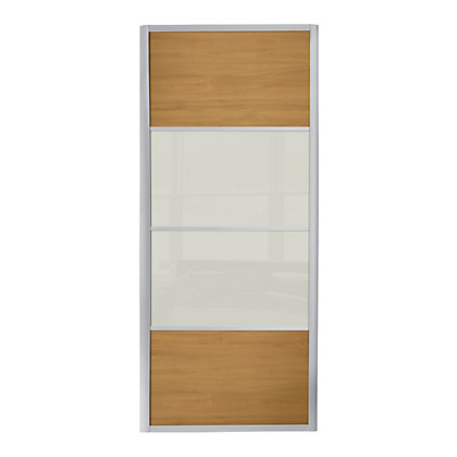 Image for Ellipse 4 Panel Windsor Oak Panel and Soft White Glass Sliding Door - 762mm from StoreName