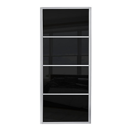 Image for Ellipse 4 Panel Black Glass Sliding Door - 762mm from StoreName