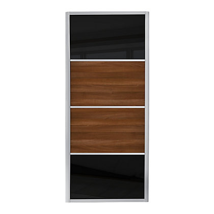 Image for Ellipse 4 Panel Black Glass and Walnut Panel Sliding Door - 914mm from StoreName