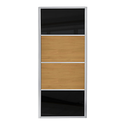 Image for Ellipse 4 Panel Black Glass and Windsor Oak Sliding Door - 914mm from StoreName