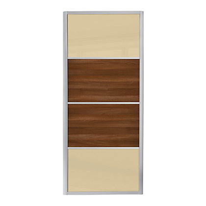 Image for Ellipse 4 Panel Cream Glass and Walnut Panel Sliding Door - 914mm from StoreName