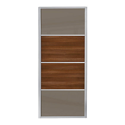 Image for Ellipse 4 Panel Cappuccino Glass and Walnut Panel Sliding Door - 914mm from StoreName