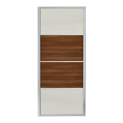 Image for Ellipse 4 Panel Soft White Glass and Walnut Panel Sliding Door - 914mm from StoreName