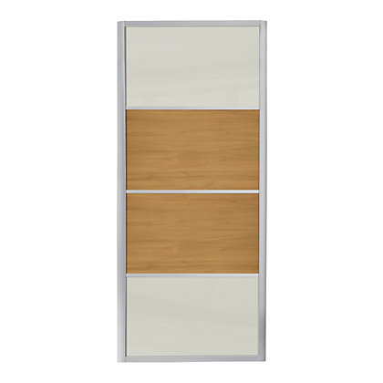 Image for Ellipse 4 Panel Buttermilk Glass and Windsor Oak Sliding Door - 914mm from StoreName