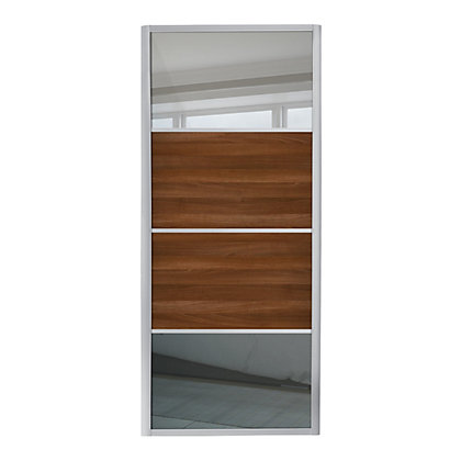 Image for Ellipse 4 Panel Mirror and Walnut Panel Sliding Door - 914mm from StoreName