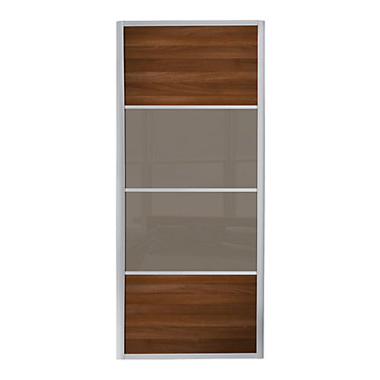 Image for Ellipse 4 Panel Walnut Panel and Cappuccino Glass Sliding Door - 914mm from StoreName