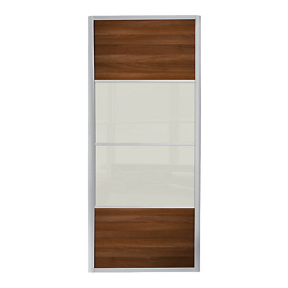 Image for Ellipse 4 Panel Walnut Panel and Soft White Glass Sliding Door - 914mm from StoreName