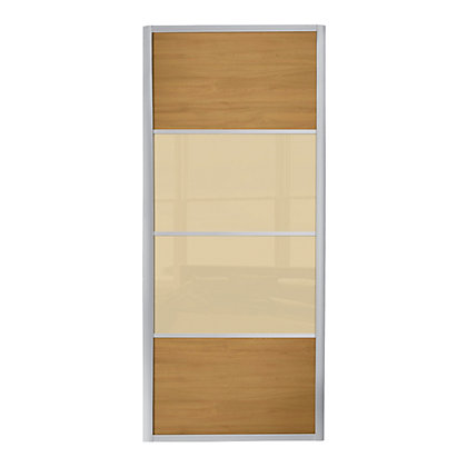Image for Ellipse 4 Panel Windsor Oak Panel and Cream Glass Sliding Door - 914mm from StoreName
