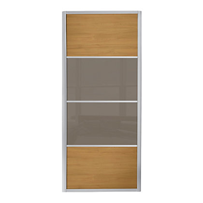 Image for Ellipse 4 Panel Windsor Oak Panel and Cappuccino Glass Sliding Door - 914mm from StoreName