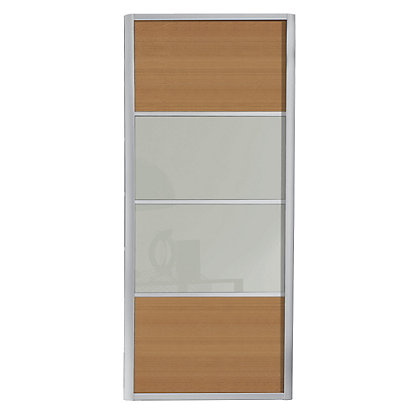 Image for Ellipse 4 Panel Windsor Oak Panel and Soft White Glass Sliding Door - 914mm from StoreName