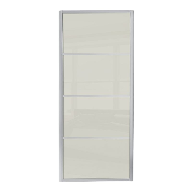 Ellipse 4 Panel Soft White Glass Sliding Door 914mm