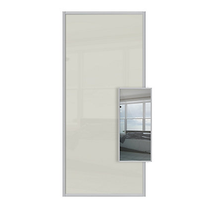 Image for Duo Soft White Glass and Mirror Sliding Door - 610mm from StoreName