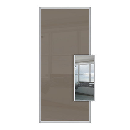 Image for Duo Cappuccino Glass and Mirror Sliding Door - 610mm from StoreName