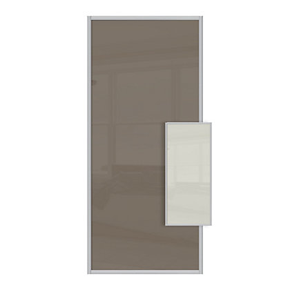 Image for Duo Cappuccino Glass and Soft White Glass Sliding Door - 610mm from StoreName