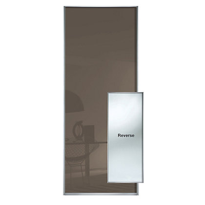 Image for Duo Cappuccino Glass and Mirror Sliding Door - 914mm from StoreName
