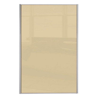 Image for Loft Silver Frame Cream Glass Sliding Door - 610mm from StoreName