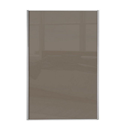Image for Loft Silver Frame Cappuccino Glass Sliding Door - 610mm from StoreName