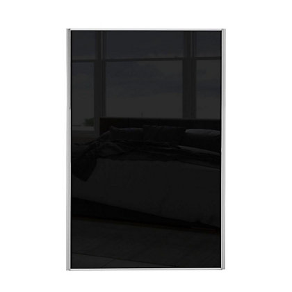 Image for Loft Silver Frame Black Glass Sliding Door - 762mm from StoreName