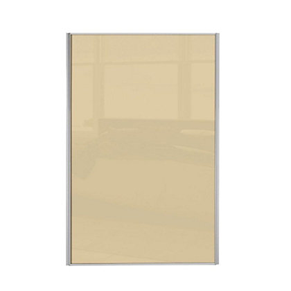 Image for Loft Silver Frame Cream Glass Sliding Door - 762mm from StoreName