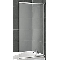 Aqualux Value Fully Framed White Bath Screen - 1300 x 700mm