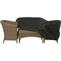 Premium Large Oval or Rectangular Garden Furniture Cover - Black