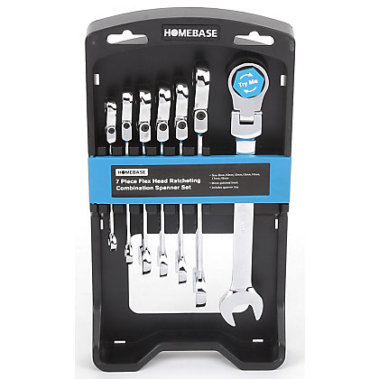Image for Homebase 7 Piece Flex Head Ratcheting Combination Spanner Set from StoreName