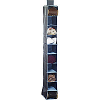 Russel 10 Pocket Shoe Organiser - Dark Blue with Light Blue Trim
