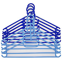 Russel 8 Plastic Hangers - Non Turnable Hook - 2 shades Blue - 4 of each shade