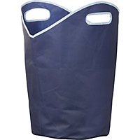 Russel Non Woven Laundry Hamper with handles - Navy Blue with Light Blue Trim